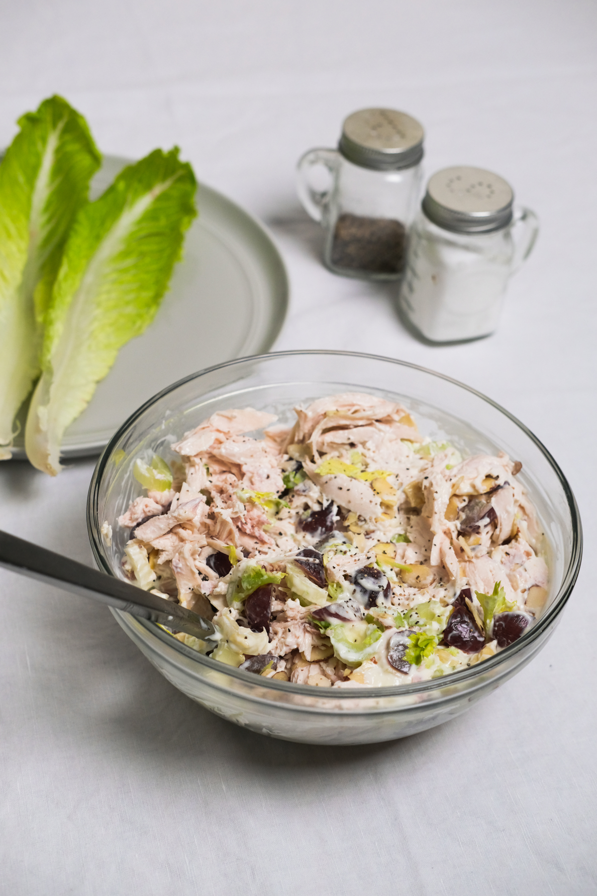 chicken salad in a bowl to make wraps