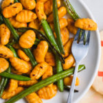 cooked gnocchi with roasted green beans