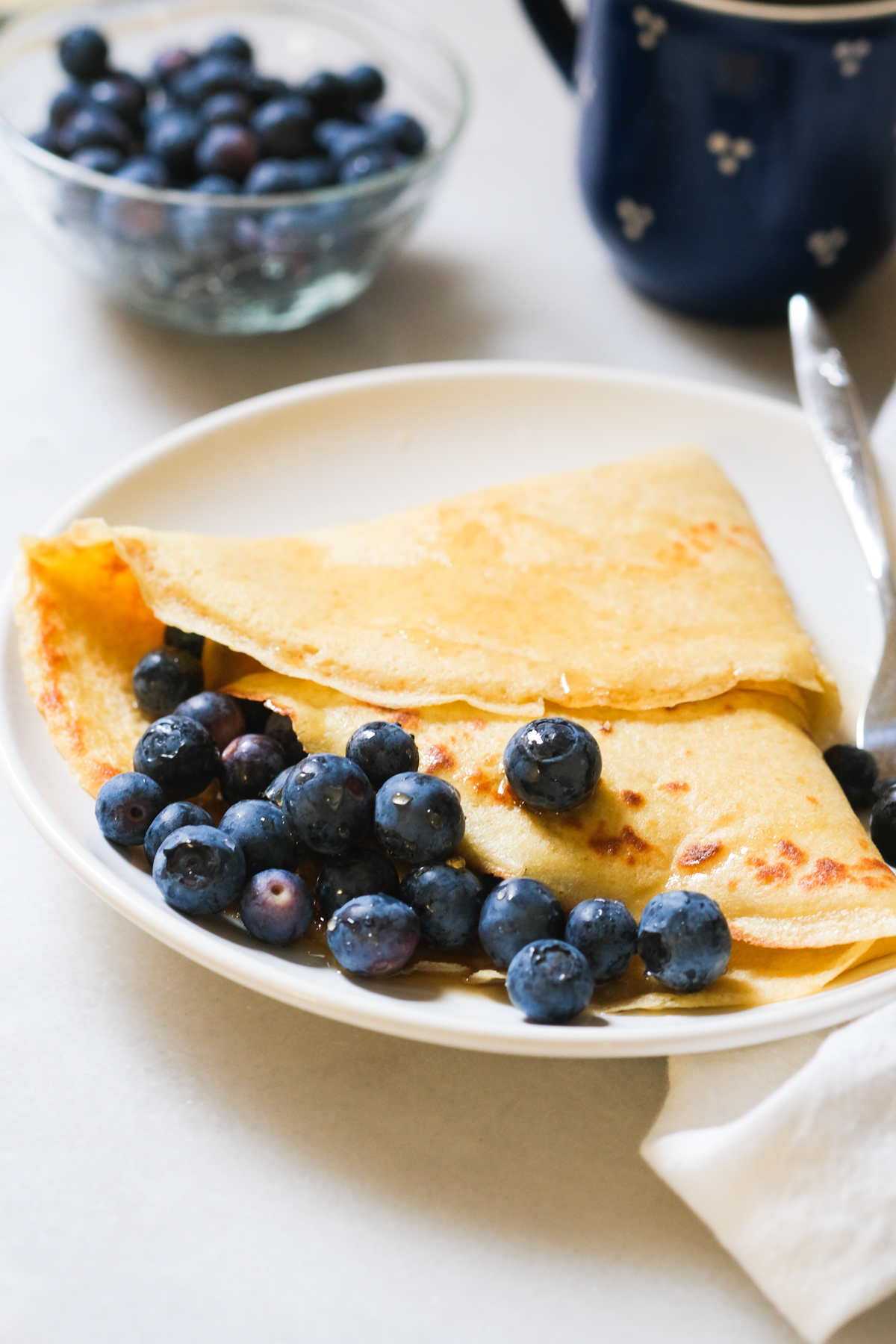 sourdough discard crepe with fresh blueberries