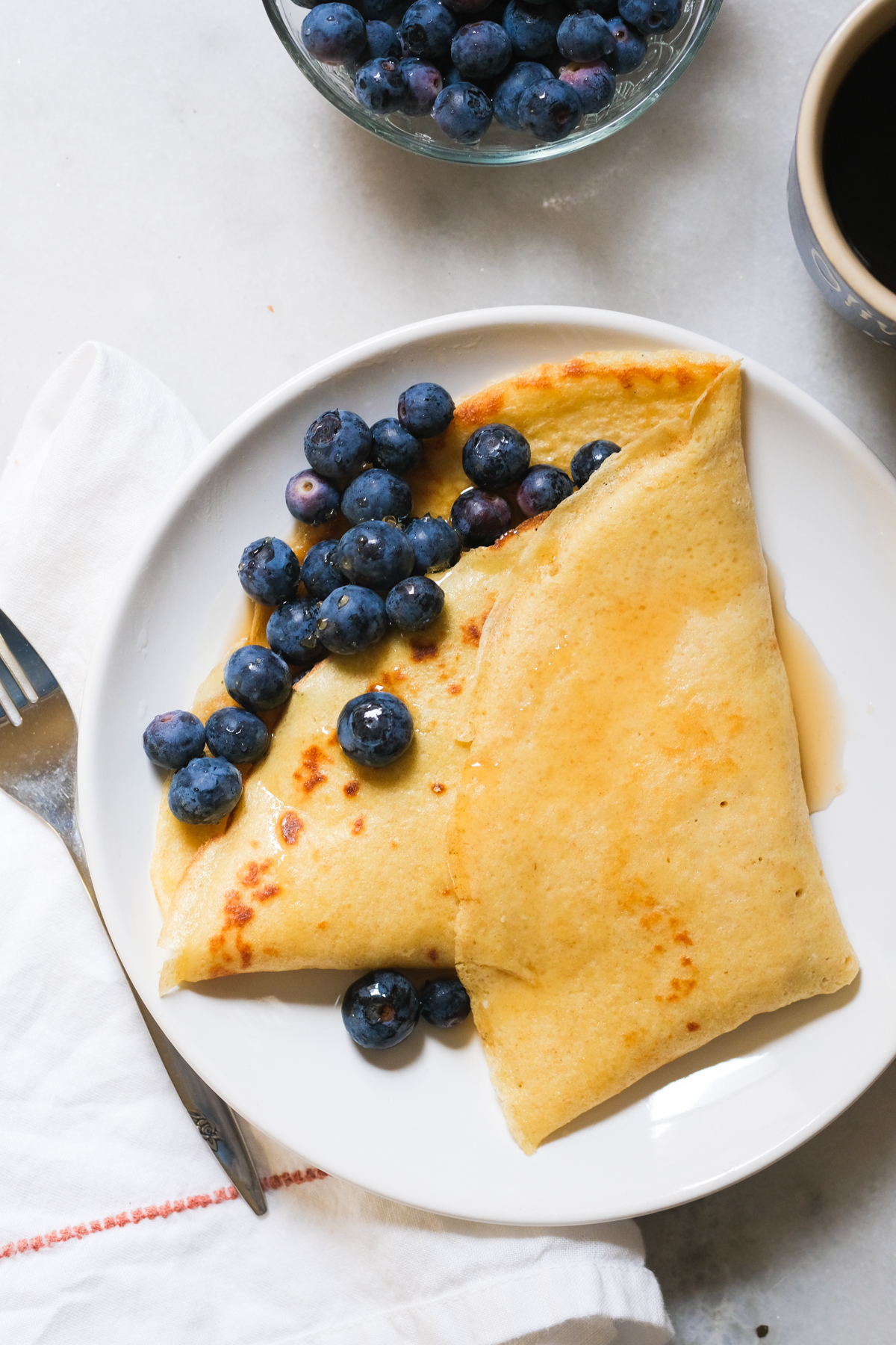 sourdough discard crepes with blueberries
