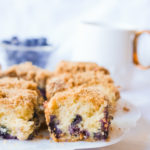 blueberry coffee cake slices on a plate