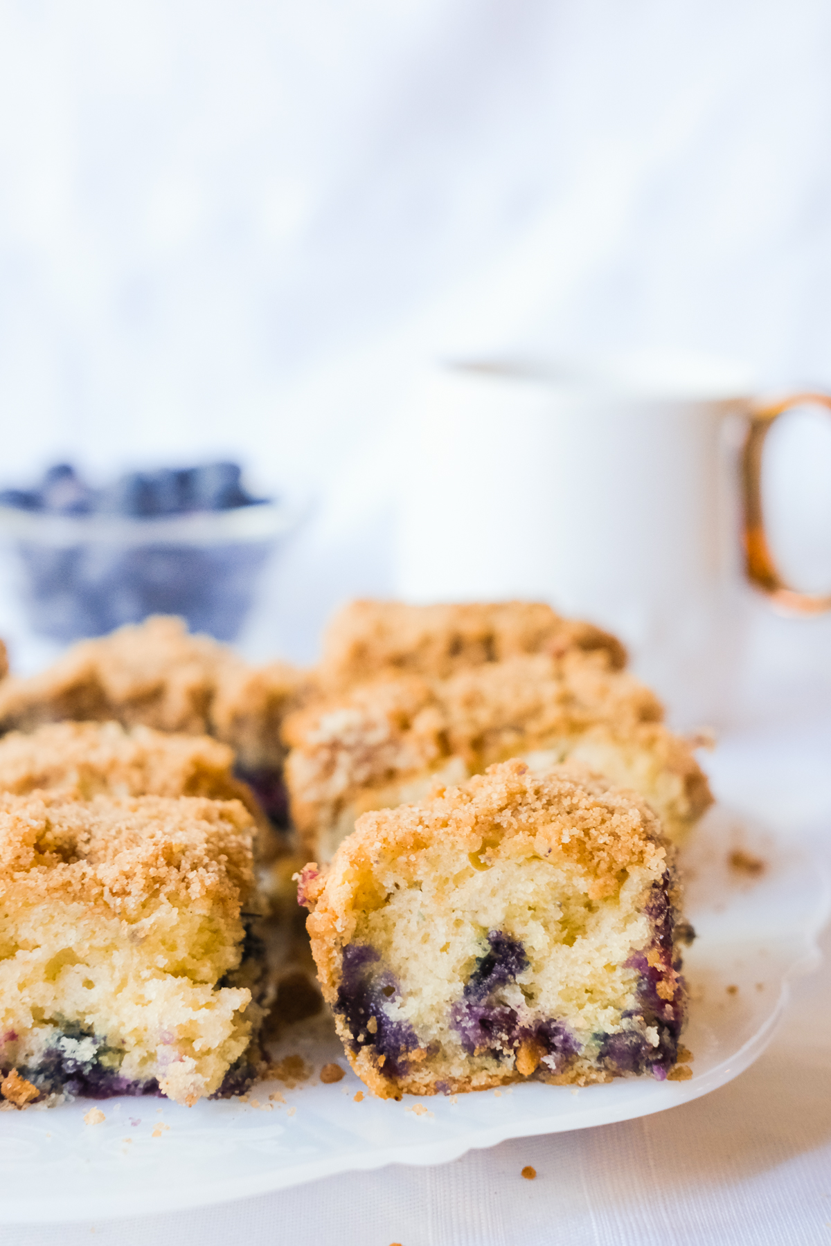 slices of blueberry coffee cake