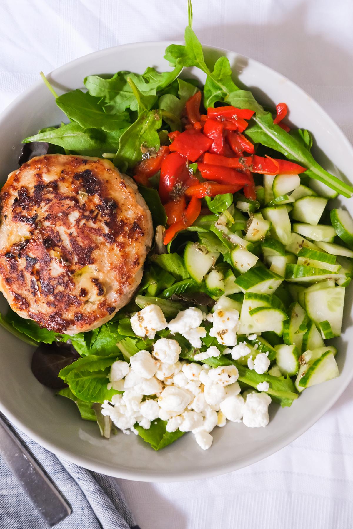 chicken burger salad
