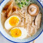 upgrade chicken ramen with chicken egg mushrooms and green onions