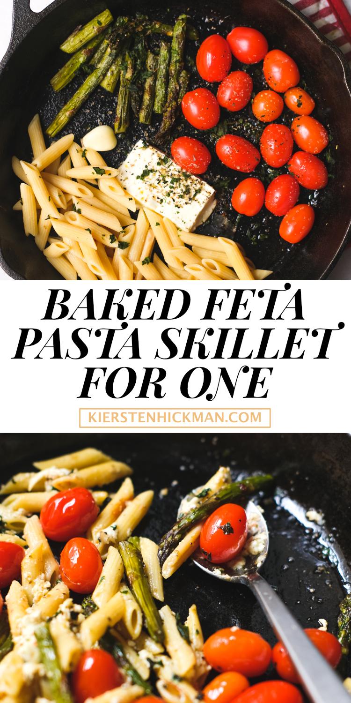 baked feta pasta skillet for one