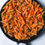 sausage and pepper pasta in a skillet