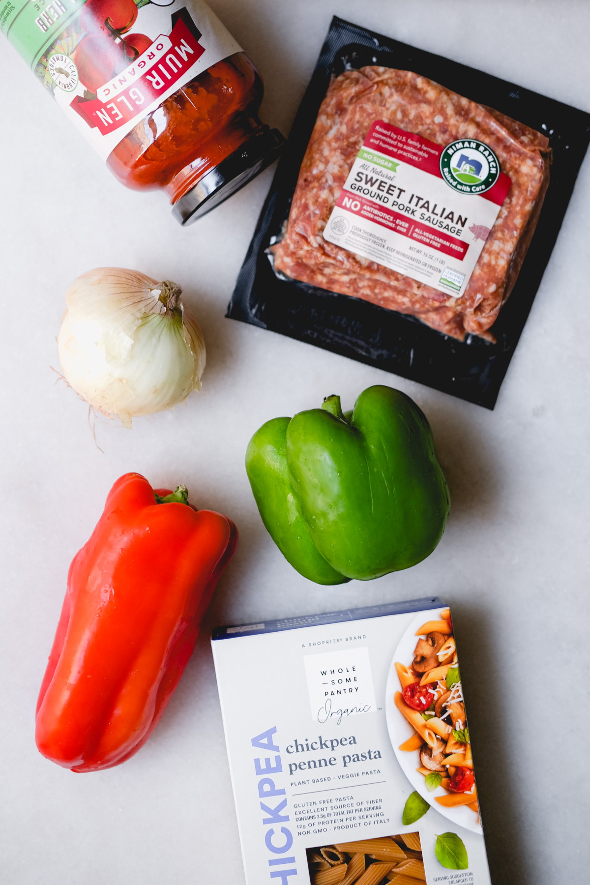 ingredients for sausage and pepper pasta