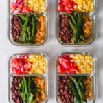 veggie burrito bowls in meal prep containers